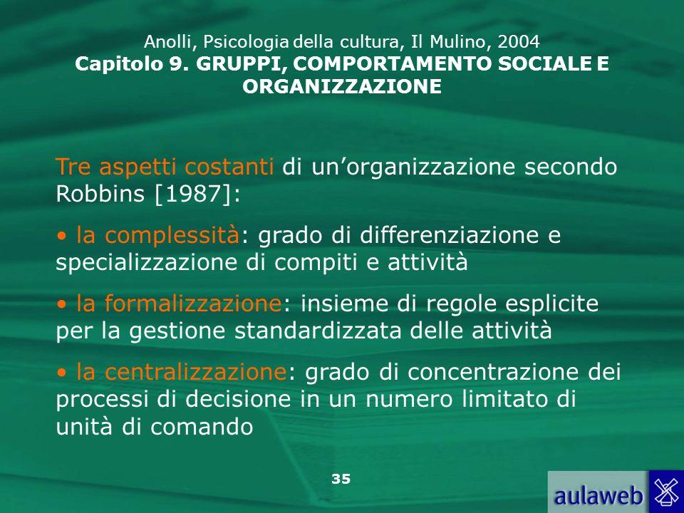 Tre aspetti costanti di un'organizzazione secondo Robbins [1987]: